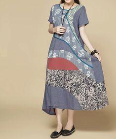 Women Summer Maxi dress/ Loose Fitting short sleeved dress/ bice/ red