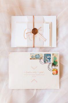 Az wedding invitation, hand stamped