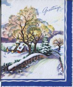 Vintage-Pollyanna-Christmas-Card-Snowy-Village-Scene-with-Bridge