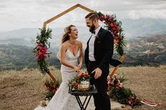wedding arch with tropical flowers