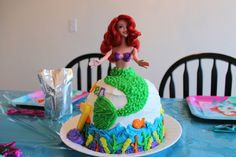 Cake at a Little Mermaid Party #littlemermaid #party
