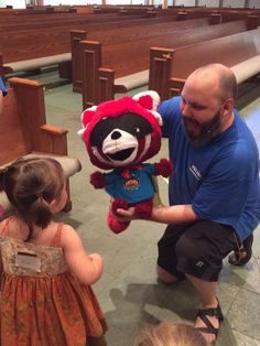 "Hello, ""My name is Flame, the Red Panda Puppet at VBS Hero Central!"" cokesburyvbs.com"