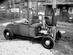 Vintage hot rod at a vintage station