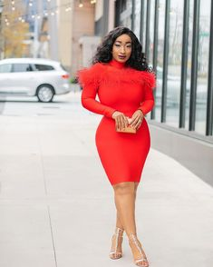 Image may contain: 1 person, standing and shoes Feather Dress, Fabric Material, Curves, Bodycon Dress, Beautiful Body, Color Red, Long Sleeve, Hug, Nice Dresses