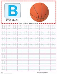 Capital letter writing practice worksheet alphabet B   Download Free Capital…
