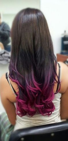 tips - dip dyed hair! The HairCut Web!: Colorful tips - dip dyed hair!The HairCut Web!: Colorful tips - dip dyed hair! Dyed Tips, Hair Dye Tips, Tip Dyed Hair, Hair Color Tips, Pink Hair Tips, Dip Dyed Hair Brown, Brown Hair Purple Tips, Dip Dye Black Hair, Brown Teal