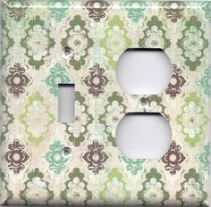 Teal/Sage Green/Maroon Distressed Rustic Medallions Switchplates & Outlet Covers