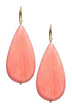 David Aubrey Fatima Wood Teardrop Earrings