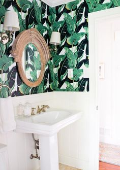 How to work in some wild wallpaper without feeling overwhelmed: keep everything else in the room white.