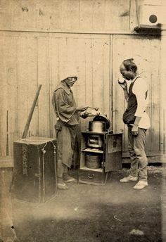Selling and drinking amazake (sweet sake), ca. 1870s by Baron Raimund von Stillfried