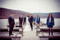 Lake Valhalla Club winter lakeside wedding party portraits on the dock, wedding photography by www.weakatthekneesto.com, combining vintage film and pro-digital, based in Toronto