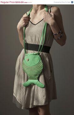 CUTE........!!!!!!!  Fish Purse Fish Bag Green Bright Hipster Kawaii by Marewo