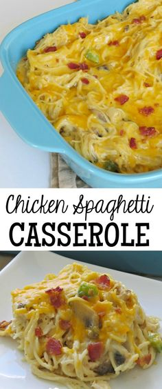 Here's an easy casserole recipe for Chicken Spaghetti Casserole that's hearty, filled with fresh mushrooms and bell peppers, and topped with cheese.