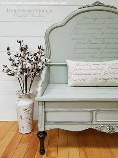 Our French Love Letters Furniture Stencils can be used for either modern or vintage home decor. Create a romantic pattern of French phrases and love quotes on painted furniture such as a table top or on the sides of dresser drawers. Furniture Projects, Furniture Makeover, Furniture Decor, Painted Furniture, Furniture Stencil, Diy Furniture Appliques, Repurposed Furniture, Wood Projects, Vintage Home Decor
