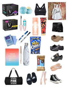 """What's In My Dance Bag"" by xxtheglitchxx on Polyvore featuring Capezio, Bloch, NIKE, Converse, Maybelline, Victoria's Secret, ban.do, Swarovski, Paper Mate and Victoria's Secret PINK"