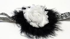 Baby Flapper Headband Black Feather Boa White Shabby Flower Headband Fold Over Elastic