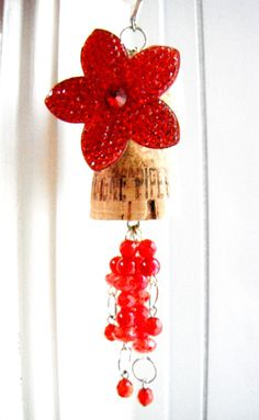 Red Flower Ornament Recycled Wine Cork Craft Beaded by mscenna