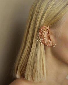 This Yellow Gold Flower Earrings Stud Earrings Unique Earrings is just one of the custom, handmade pieces you'll find in our stud earrings shops. Rose Gold Earrings, Unique Earrings, Flower Earrings, Crystal Earrings, Diamond Earrings, Stud Earrings, Helix Earrings, Bijoux Piercing Septum, Piercing Face