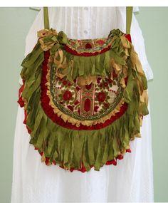 Victorian Velvet Handbag Bohemian Gypsy Vintage Tapestry Fringe Shoulder Bag Purse by Turtle Dove Bags