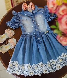 Baby Frocks Designs, Kids Frocks Design, Cute Outfits For Kids, Girly Outfits, Toddler Girl Dresses, Little Girl Dresses, Baby Frock Pattern, Kids Dress Patterns, Blue Dress Casual