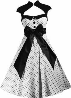 Pretty Kitty Fashion 50s Weiß Schwarz Polka Dot Retro Kleid  Amazon.de   Bekleidung 370c7b0583