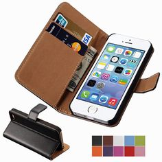 Wallet Flip Case For iPhone 5 / 5S / SE PU Leather Cover For iPhone5 i Phone Apple Brand capinha Black Pink Coque Bag Luxury