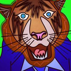 #art #illustration #digitalart #tiger #animal #tiger #roar #teeth #fur #shirt #tie #smart #scary #cool #portrait #popart #drawing #cartoon #creative #design #green #blue #orange #stripes