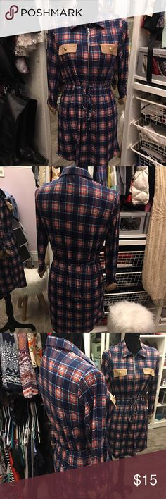 Plaid zipper detail dress! Navy Plaid Zipper Detail  👗 AD41069-1 Navy 100% made in the USA 95% Polyester  5% Spandex Dresses