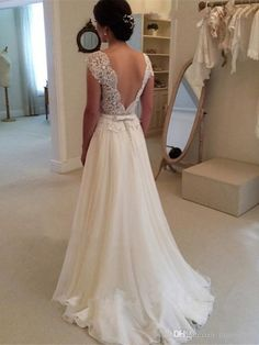 Popular Casual Lace A Line Wedding Dresses 2016 Simple Summer Beach Wedding Gowns With Sheer Jewel Backless Delicate Lace Applique Detail