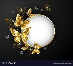 Round banner with gold frame, decorated with gold jewelry butterflies on a black. - Round banner with gold frame, decorated with gold jewelry butterflies on a black background. Framed Wallpaper, Flower Background Wallpaper, Gold Background, Butterfly Wallpaper, Flower Backgrounds, Background Images, Wallpaper Backgrounds, Black Backgrounds, Wallpapers