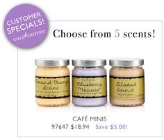 $18.94, Five dollars off any three Cafe minis by Gold Canyon Candle