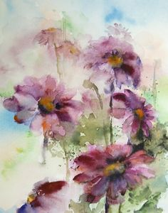 Pink Daisy Flowers Art Print of Original by CanotStopPrints, $38.00