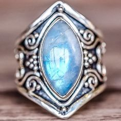 Tribal Rainbow Moonstone Ring || Available in our 'Luna' and 'Earthly Treasures' Collections || www.indieandharper.com