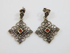 Vintage Earrings Sterling Silver and Garnet by IndigoEyesVintage