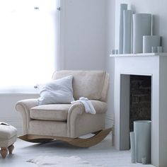 cozy rocking chair for home library...would make a great reading chair :)