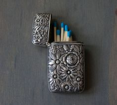 Antique Whiting Sterling Silver Floral Vesta Case Match Safe - Art Nouveau by MintAndMade