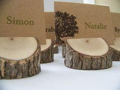 Beautiful Rustic Real-Wood Place Card Holders - Set of 4   Rustic Wedding Theme   Photo Holders, Rustic and Tree Slices