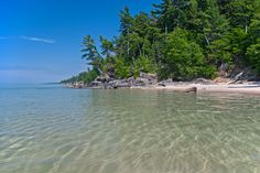 The rugged shoreline of Lake Superior in the Pictured Rocks National Lakeshore.