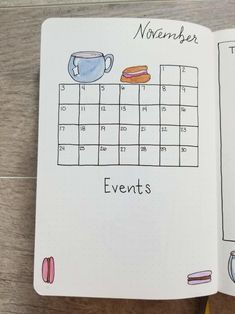 Hand drawn November 2019 calendar with hand drawn teacups, scones, and macarons Bullet Journal Yearly Spread, Bullet Journal And Diary, December Bullet Journal, Bullet Journal Font, Bullet Journal Tracker, Bullet Journal Printables, Bullet Journal Ideas Pages, Journal Pages, Journal Fonts