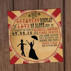 Vintage Circus Wedding Invitation by Aurora Invited https://www.etsy.com/listing/174892171/vintage-circus-wedding-invitation?ref=shop_home_active