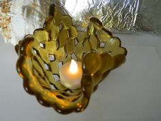 Fused Glass Marble Amber Gold Bowl Candleholder by uniquenique, $28.00