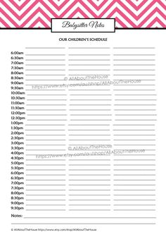babysitter notes, kids schedule, nanny, daycare, school routine, household binder, family planner, organizer, printable, editable http://www.allaboutthehouseprintablesblog.com/printable-craft-show-planner-handmade-markets-trade-shows-editable/