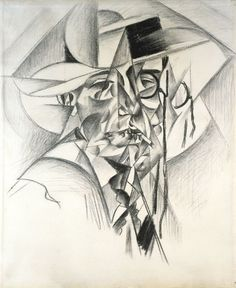 Gino Severini Self-Portrait with Straw Boater, 1912 Charcoal, with stumping on ivory laid paper 551 x 452 mm Margaret Day Blake collection Chicago Institute of Art