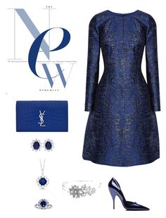 """Night with sapphire blue"" by ycsandjaja on Polyvore featuring Oscar de la Renta, Narciso Rodriguez, Yves Saint Laurent, Kobelli, CARAT*, Allurez and Bling Jewelry"
