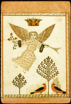 Untitled religious drawing (Angel with trumpet and branch) Works on Paper David Kulp (Artist) Bucks, Pennsylvania, Mid-Atlantic, United States, North America Date: 1801-1820 Ink; Watercolor; Paper (laid)Fraktur
