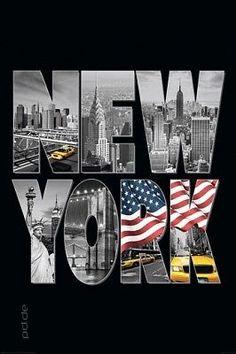 Poster USA New York Logo Taxi Flagge Schriftzug 61 x 91,5 cm