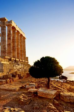 Ruins of an ancient Greek temple of Poseidon before sunset, Greece
