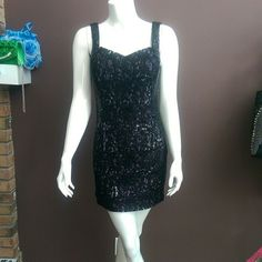 Dancing Queen short sequence cocktail dress Brand new from my store. Black sequence and silver under lace. Side zipper. 100% polyester. Built in cups. dancing Queen Dresses