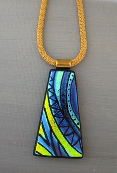 Dichroic Glass Necklace, Dichroic Jewelry, Fused Glass Pendant, Zentangle Glass Pendant - Cool Waters