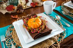 Craftaholics Anonymous® | Turquoise + Orange Fall Tablescape & a Giveaway